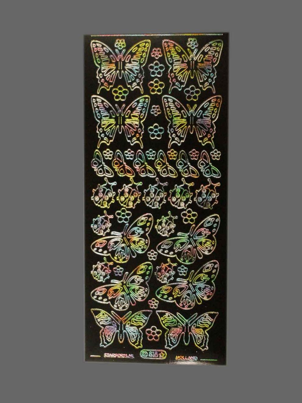 Bild Sticker Schmetterlinge Starform Nr. 818 regenbogen-schwarz