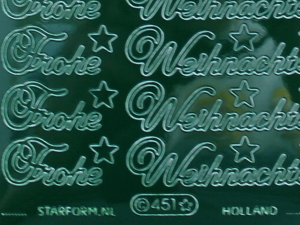 Bild Sticker Frohe Weihnachten grün Starform 451