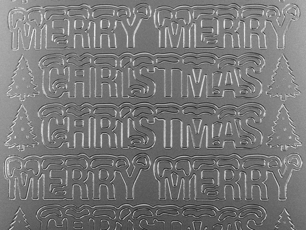 Bild Sticker Merry Christmas silber Starform 369