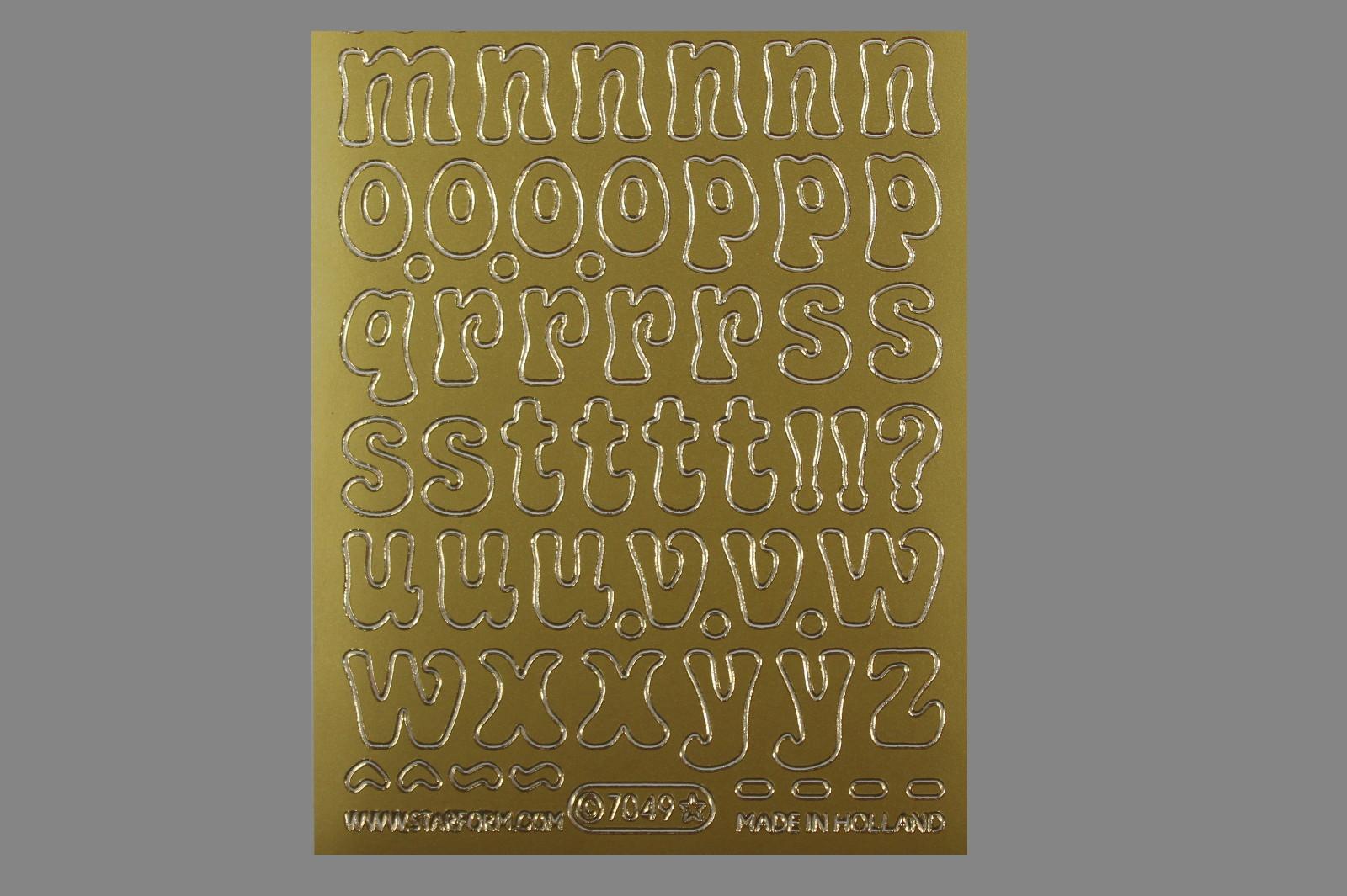 Bild Sticker Kleinbuchstaben 14- 18 mm gold Starform 7049