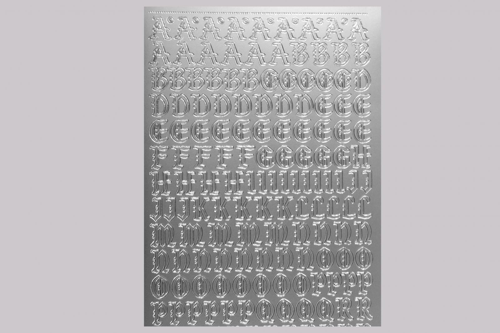 Bild Sticker Großbuchstaben gotisch Starform Nr. 1155 silber