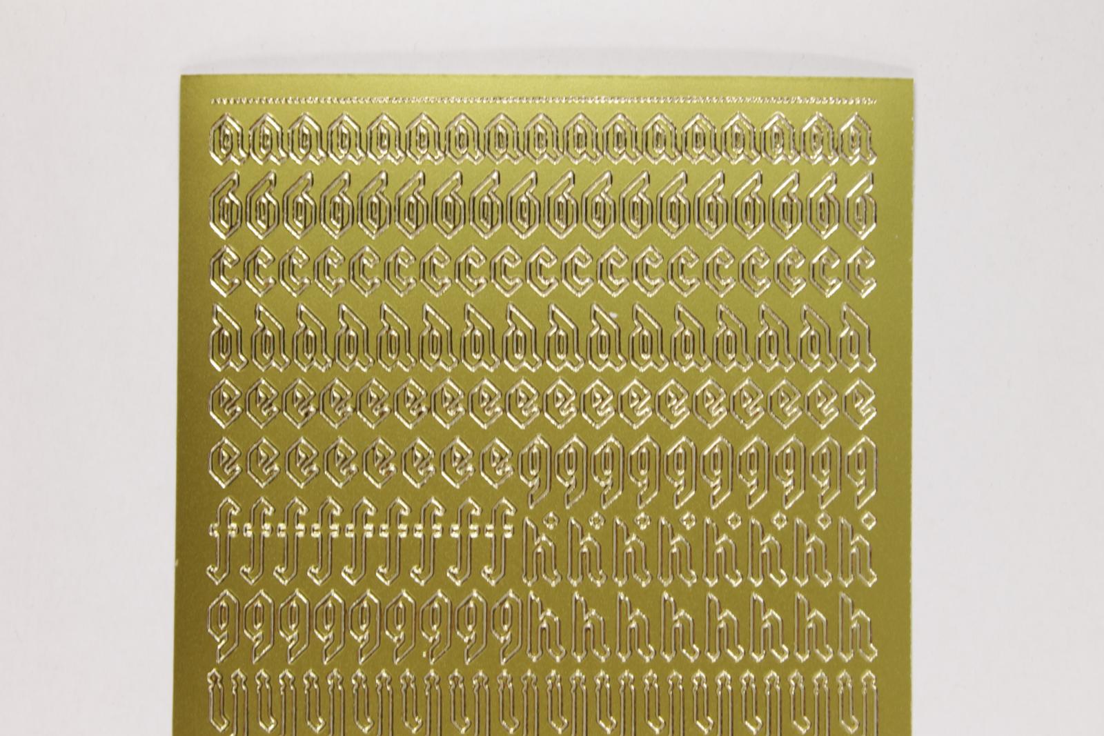Bild Sticker Kleinbuchstaben gold gotisch Starform Nr. 1156