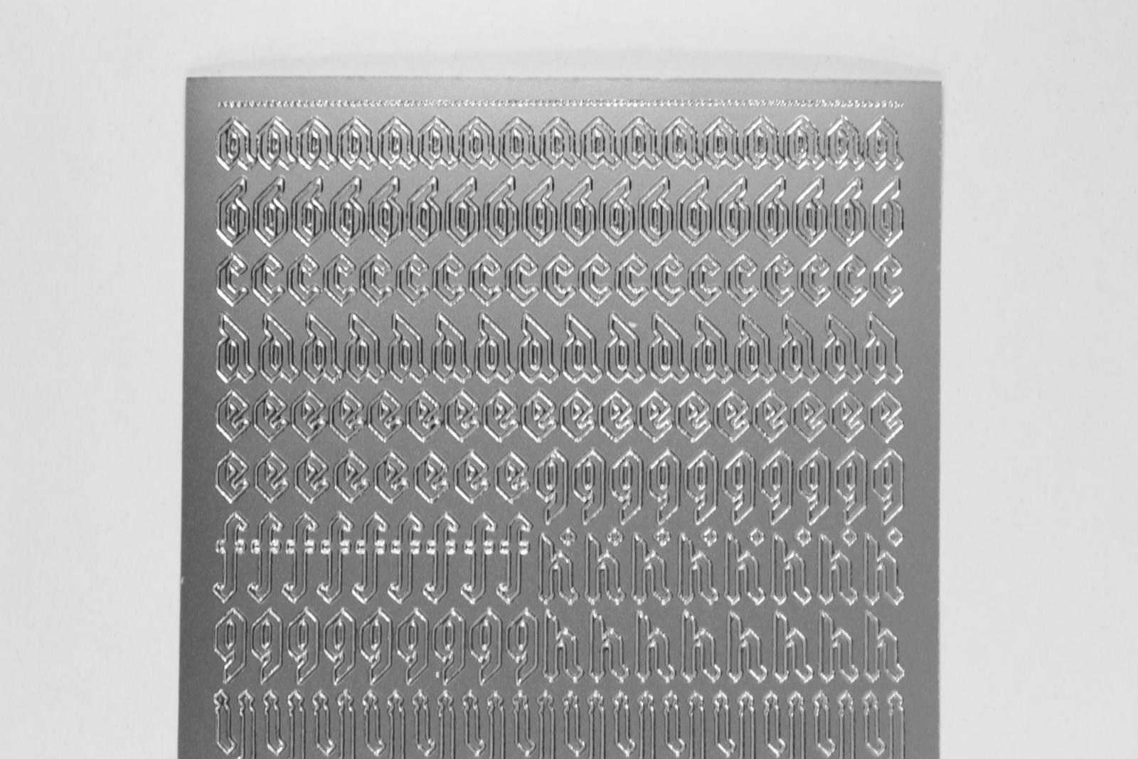 Bild Sticker Kleinbuchstaben silber gotisch Starform Nr. 1156
