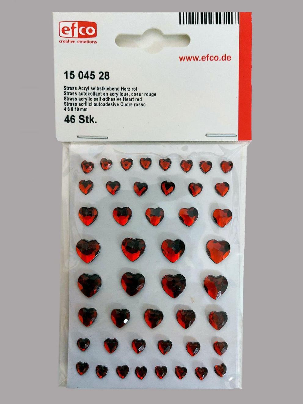 Bild Strasssteine Herzen rot 4, 6, 8, 10 mm 46 Stk selbstklebend