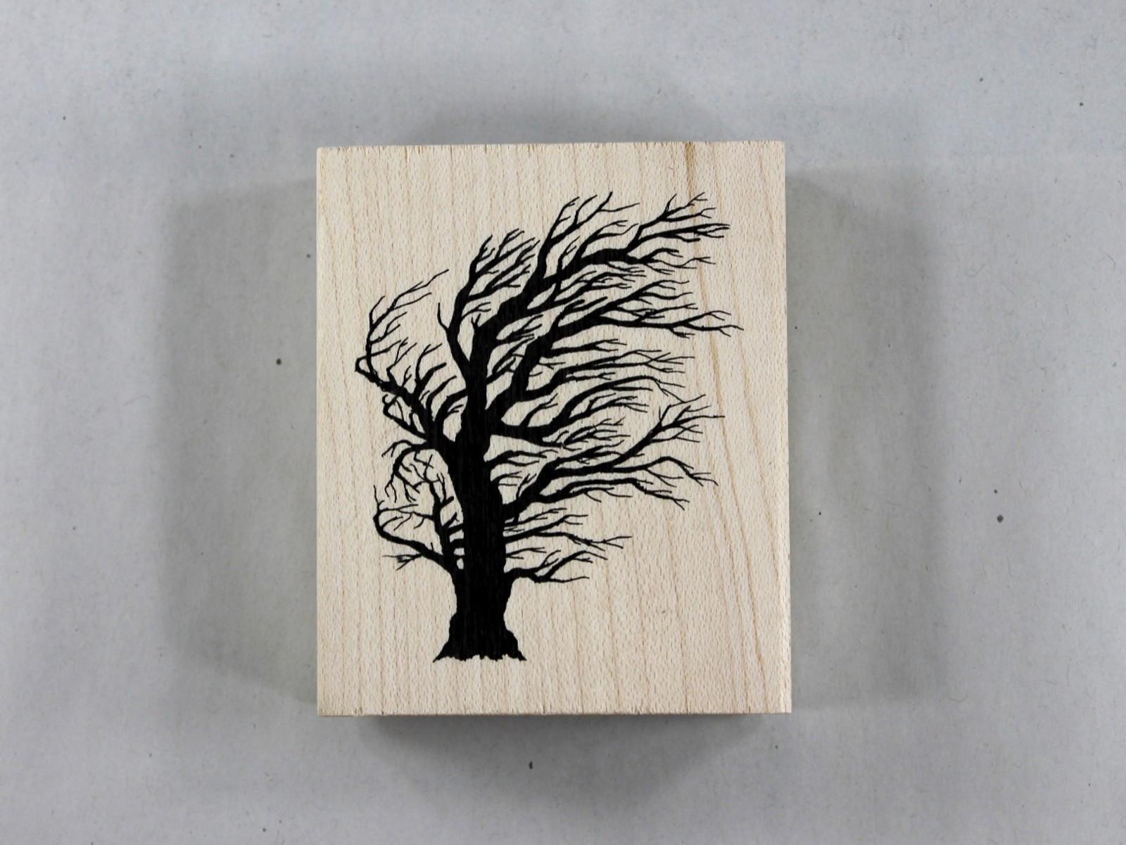 Bild Encaustic Stempel Baum im Wind