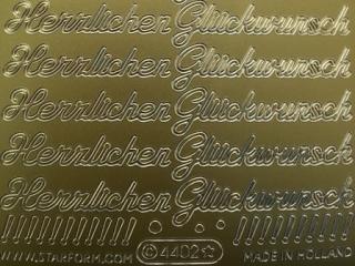 Bild Sticker Herzlichen Glückwunsch gold Starform 4402