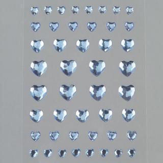 Bild Strasssteine Herzen hellblau 4, 6, 8, 10 mm 46 Stk selbstklebend
