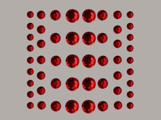 Bild Strasssteine rund rot 4, 5, 6, 8 mm 54 Stk selbstklebend