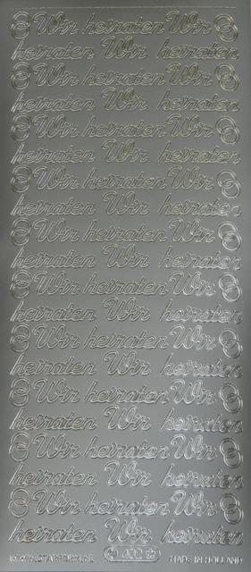 Bild Sticker Wir heiraten silber Starform 402