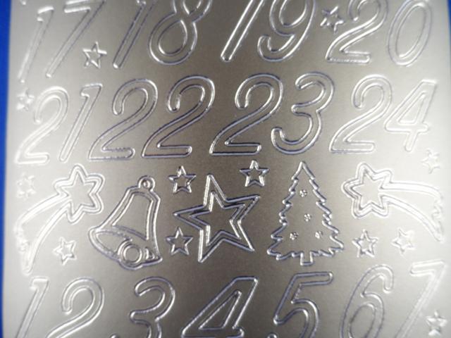 Bild Sticker 1-24 Weihnachten silber Starform 8525