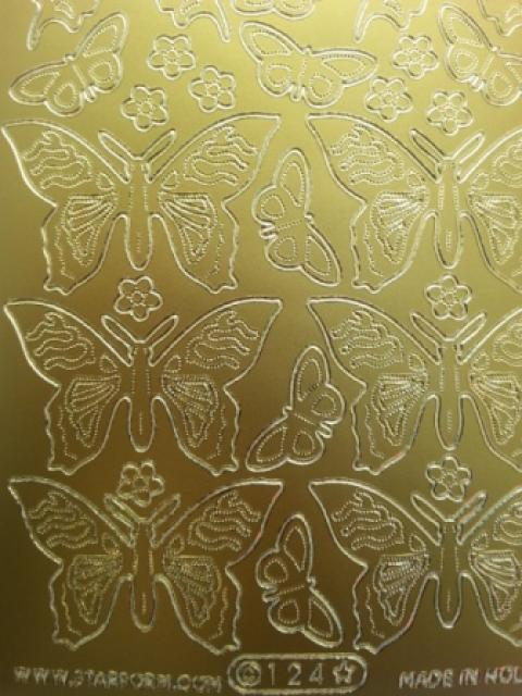 Bild Sticker Schmetterlinge gold Starform 0124