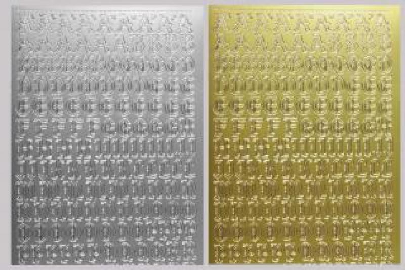 Bild Sticker Großbuchstaben gold gotisch Starform Nr. 1155